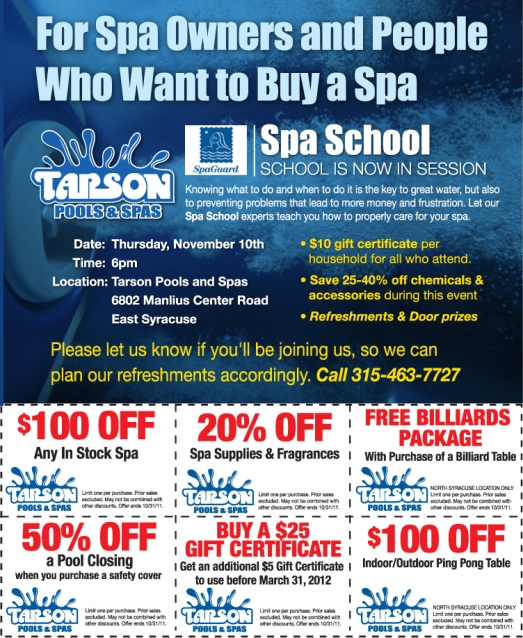 Spa schools, discounts, Spa owner, Tarson Pools